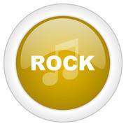 Rock music icon, golden round glossy button, web and mobile app design illust Piirros