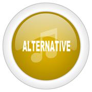 alternative music icon, golden round glossy button, web and mobile app design - stock illustration