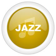 jazz music icon, golden round glossy button, web and mobile app design illust - stock illustration