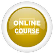 online course icon, golden round glossy button, web and mobile app design ill - stock illustration