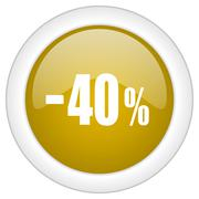 40 percent sale retail icon, golden round glossy button, web and mobile app d Stock Illustration