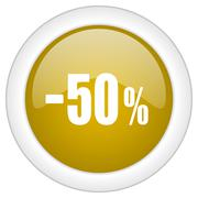 50 percent sale retail icon, golden round glossy button, web and mobile app d Stock Illustration