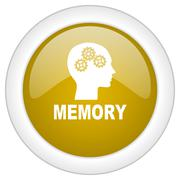 Memory icon, golden round glossy button, web and mobile app design illustrati Stock Illustration