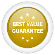 best value guarantee icon, golden round glossy button, web and mobile app des - stock illustration