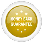 money back guarantee icon, golden round glossy button, web and mobile app des - stock illustration