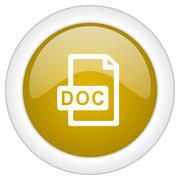 doc file icon, golden round glossy button, web and mobile app design illustra - stock illustration