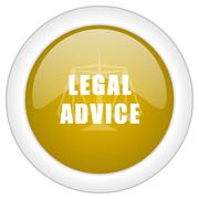 legal advice icon, golden round glossy button, web and mobile app design illu - stock illustration