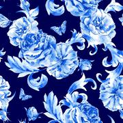 Vintage seamless pattern blue roses and butterflies Piirros