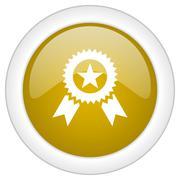 award icon, golden round glossy button, web and mobile app design illustratio - stock illustration