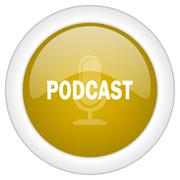 podcast icon, golden round glossy button, web and mobile app design illustrat - stock illustration