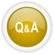 question answer icon, golden round glossy button, web and mobile app design i - stock illustration