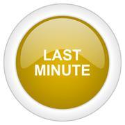 Last minute icon, golden round glossy button, web and mobile app design illus Stock Illustration