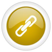 link icon, golden round glossy button, web and mobile app design illustration - stock illustration