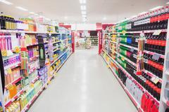 Facing view of an aisle Stock Photos