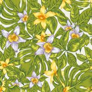 Natural floral leaves exotic vector seamless pattern - stock illustration