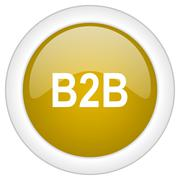 B2b icon, golden round glossy button, web and mobile app design illustration Stock Illustration