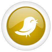Twitter icon, golden round glossy button, web and mobile app design illustrat Stock Illustration