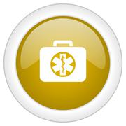 Rescue kit icon, golden round glossy button, web and mobile app design illust Stock Illustration