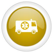 ambulance icon, golden round glossy button, web and mobile app design illustr - stock illustration