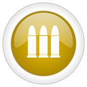 Ammunition icon, golden round glossy button, web and mobile app design illust Stock Illustration