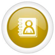 address book icon, golden round glossy button, web and mobile app design illu - stock illustration