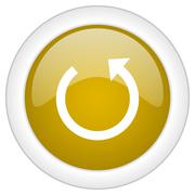 Rotate icon, golden round glossy button, web and mobile app design illustrati Stock Illustration