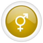 sex icon, golden round glossy button, web and mobile app design illustration - stock illustration