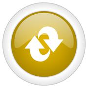 rotation icon, golden round glossy button, web and mobile app design illustra - stock illustration