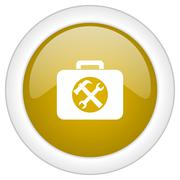 Toolkit icon, golden round glossy button, web and mobile app design illustrat Stock Illustration