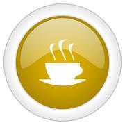 Espresso icon, golden round glossy button, web and mobile app design illustra Stock Illustration