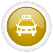 taxi icon, golden round glossy button, web and mobile app design illustration - stock illustration