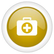 first aid icon, golden round glossy button, web and mobile app design illustr - stock illustration
