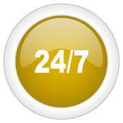 24/7 icon, golden round glossy button, web and mobile app design illustration Piirros