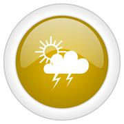 storm icon, golden round glossy button, web and mobile app design illustratio - stock illustration