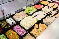 Close up view of an appetizing buffet of prepared meal Stock Photos