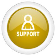 Support icon, golden round glossy button, web and mobile app design illustrat Stock Illustration