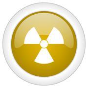 Radiation icon, golden round glossy button, web and mobile app design illustr Stock Illustration