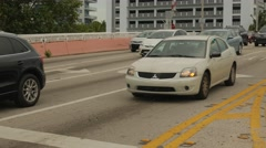 Car stops on red light Stock Footage