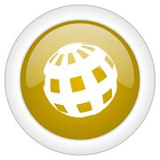 earth icon, golden round glossy button, web and mobile app design illustratio - stock illustration