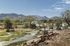 View of Epupa Falls and distant mountains, Namibia Stock Photos