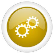 Gear icon, golden round glossy button, web and mobile app design illustration Stock Illustration