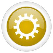 gear icon, golden round glossy button, web and mobile app design illustration - stock illustration