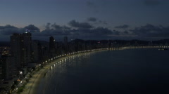 Aerial Image of Balneário Camboriú BC Beach at Night 002 Stock Footage