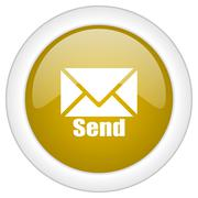 send icon, golden round glossy button, web and mobile app design illustration - stock illustration