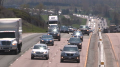 Epic highway traffic jam gridlock on holiday weekend in summer Stock Footage
