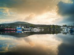 Moored barges at Graiguenamanagh on Barrow Navigation Canal, Ireland Stock Photos
