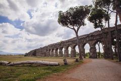 Ancient aqueduct, Parco degli Acquedotti, Rome, Italy Stock Photos