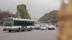 Traffic passing through busy intersection, Paris, France Stock Footage