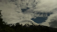 Time lapse of clouds swirling around the peak of Osorno volcano in Chile Stock Footage