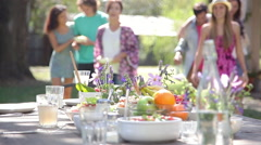 Friends gathering for picnic brunch Stock Footage